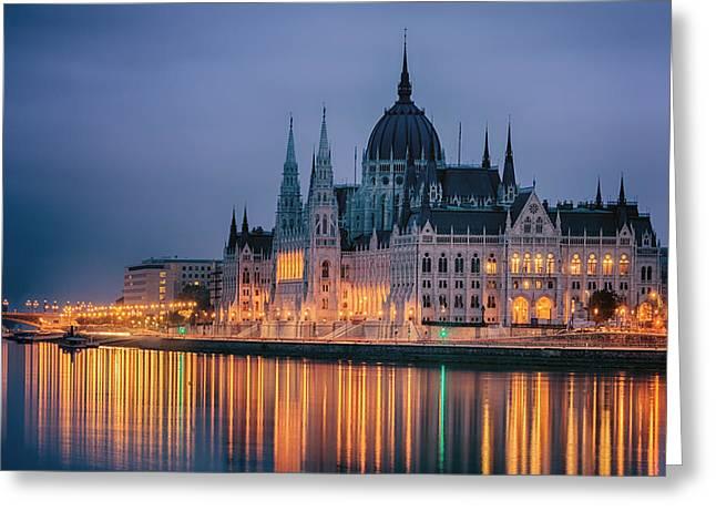 Hungarian Parliament Dawn Greeting Card by Joan Carroll