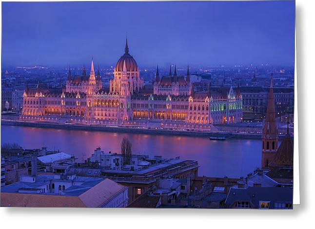 Hungarian Parliament First Evening Light Greeting Card by Joan Carroll