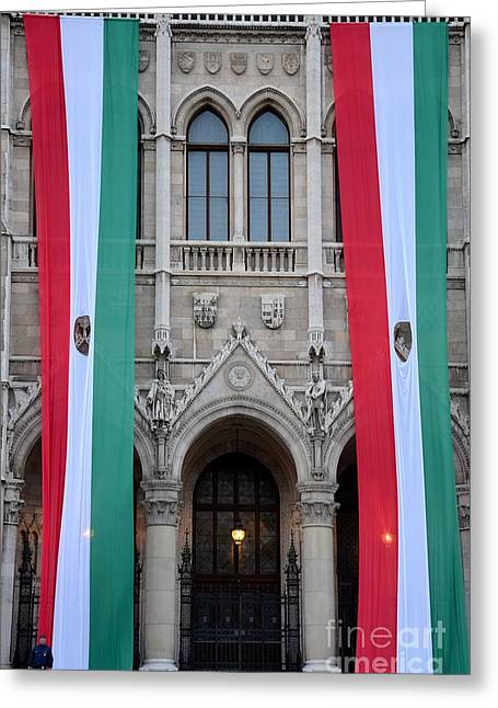 Hungary Flag Hanging At Parliament Budapest Greeting Card