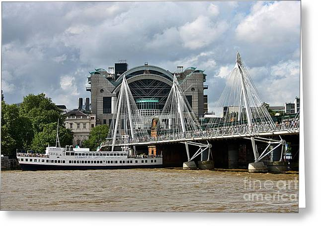 Greeting Card featuring the photograph Hungerford Bridge And Charing Cross by Jeremy Hayden
