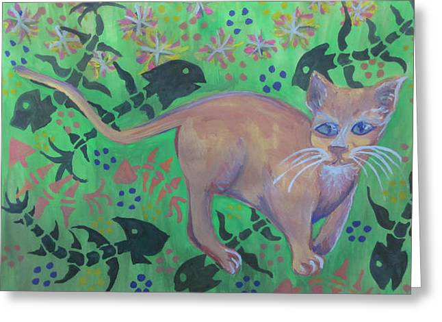 Hungry Cat Greeting Card by Cherie Sexsmith