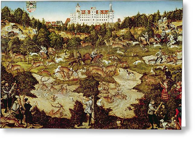 Hunt In Honour Of The Emperor Charles V Near Hartenfels Castle, Torgau, 1544 Oil On Panel See Greeting Card by Lucas, the Elder Cranach