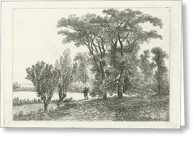 Hunter At A Forest Edge, Hermanus Jan Hendrik Van Greeting Card by Hermanus Jan Hendrik Van Rijkelijkhuysen