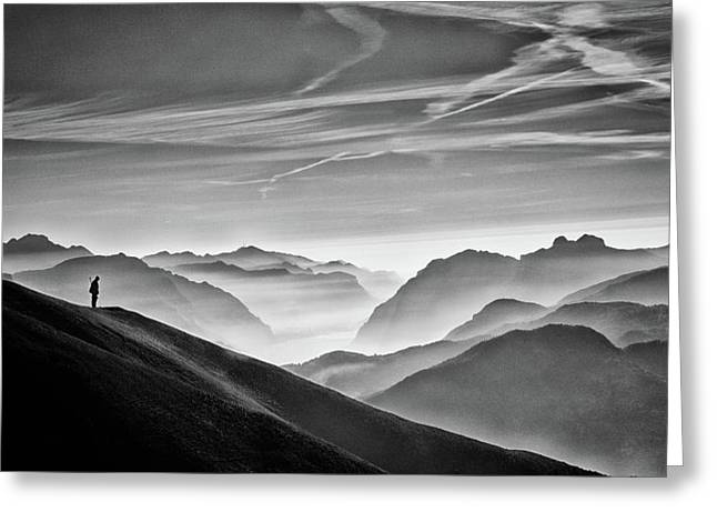 Hunter In The Fog Bw Greeting Card by Vito Guarino