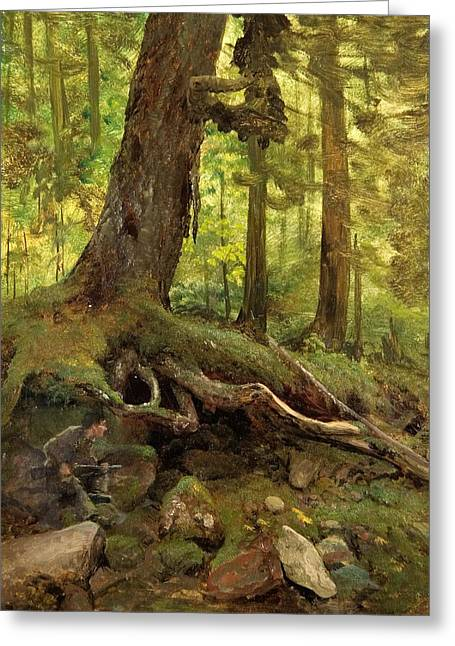 Hunter In The White Mountains Near Glen House Detail Greeting Card by Albert Bierstadt