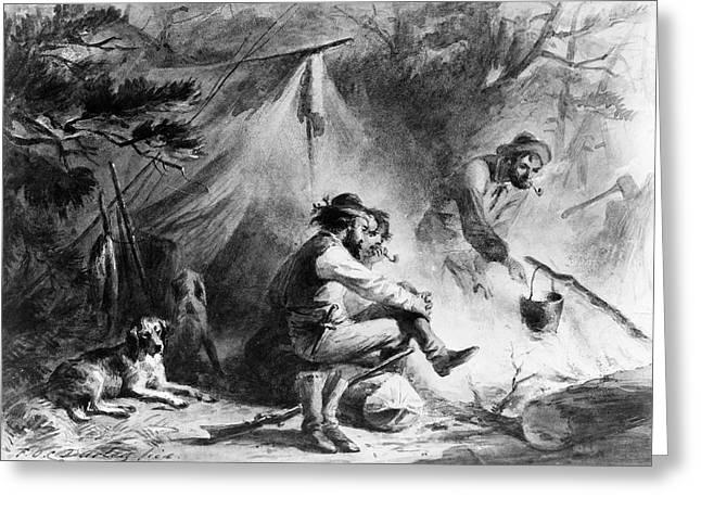 Hunters At Camp Greeting Card by Granger
