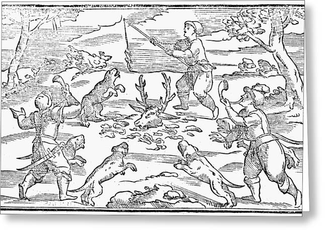Hunters Feeding Dogs, 1582 Greeting Card by Granger