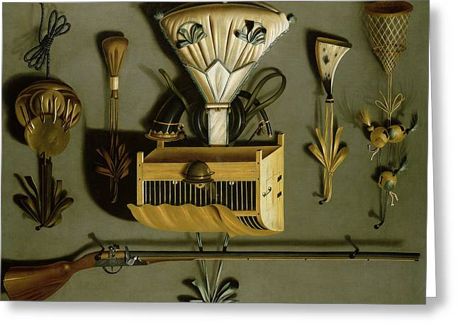 Hunting Equipment Oil On Canvas Greeting Card by Johannes Leemans