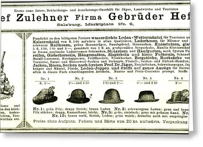 Hunting Hats Austria 1891 Greeting Card