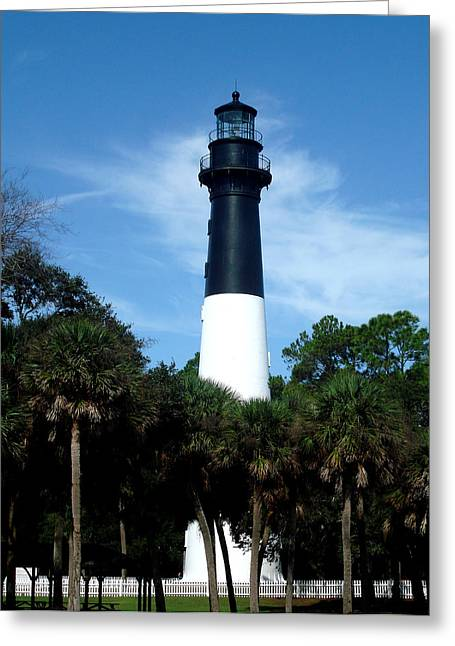 Greeting Card featuring the photograph Hunting Island Lighthouse by Ellen Tully