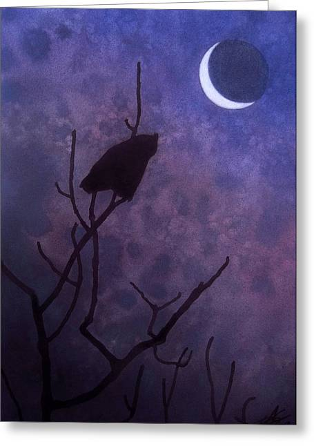 Hunting Moon II Or Great Horned Owl Greeting Card