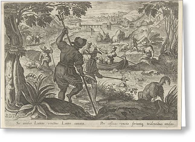 Hunting Otters, Philips Galle Greeting Card