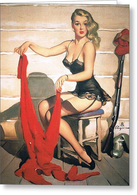 Hunting Time - Retro Pinup Girl Greeting Card