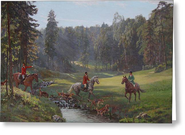 Hunting With Hounds Greeting Card by Korobkin Anatoly