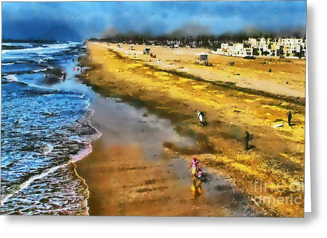 Huntington Beach Greeting Card by Clare VanderVeen