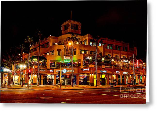 Huntington Beach Downtown Nightside 1 Greeting Card by Jim Carrell