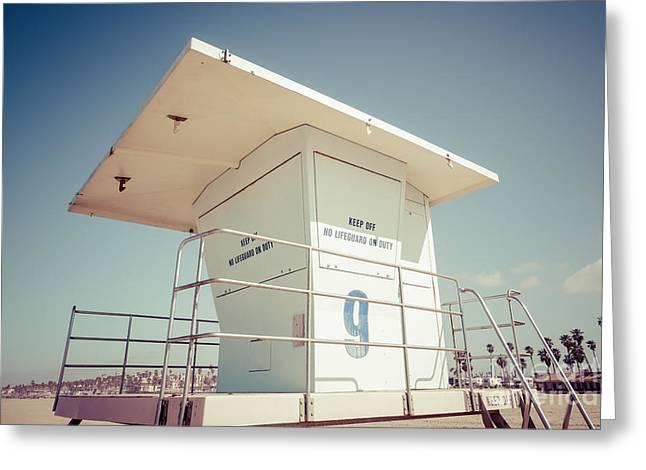 Huntington Beach Lifeguard Tower Retro Photo Greeting Card by Paul Velgos