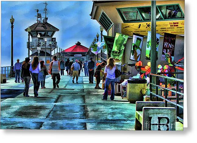 Huntington Beach Pier Greeting Card by Clare VanderVeen