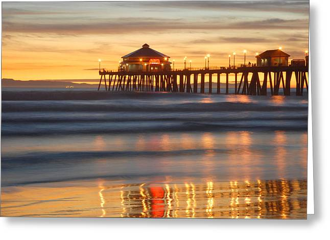 Huntington Beach Pier Greeting Card by Dung Ma
