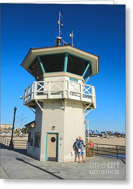 Huntington Beach Pier Lifeguard Tower Greeting Card by Gregory Dyer