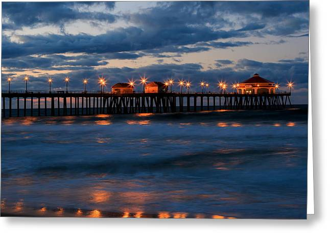 Huntington Beach Pier Lights  Greeting Card by Duncan Selby