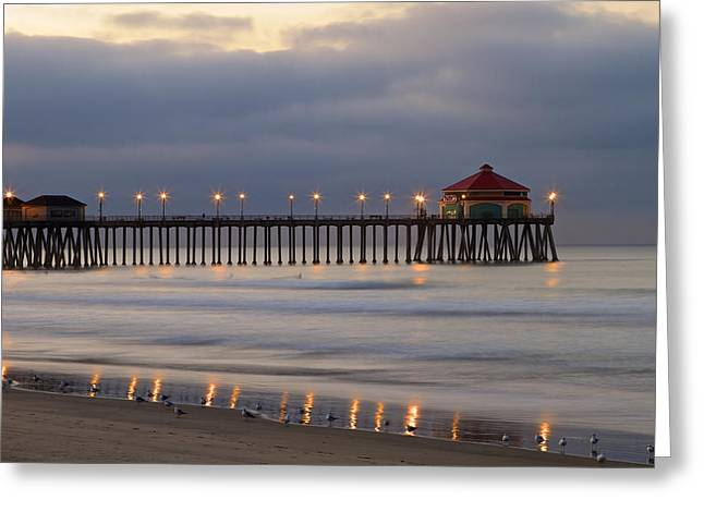 Huntington Beach Pier Morning Lights Greeting Card by Duncan Selby