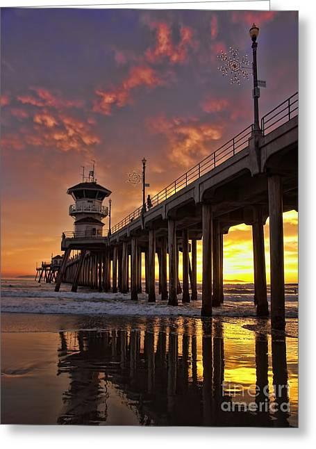 Huntington Beach Pier Greeting Card by Peggy Hughes