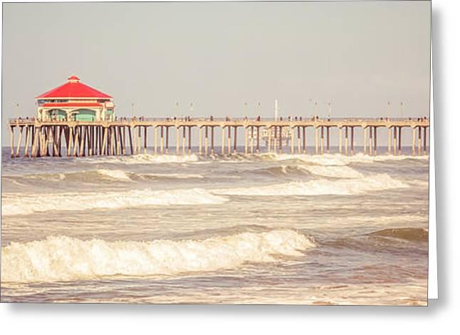 Huntington Beach Pier Retro Panoramic Picture Greeting Card