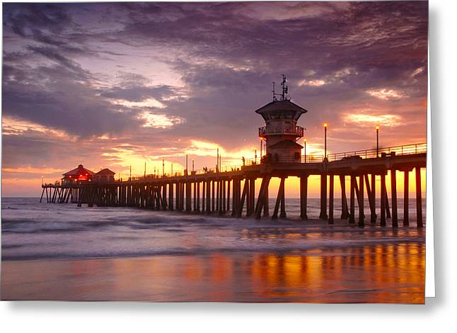 Huntington Beach Pier Sunset Greeting Card by Dung Ma