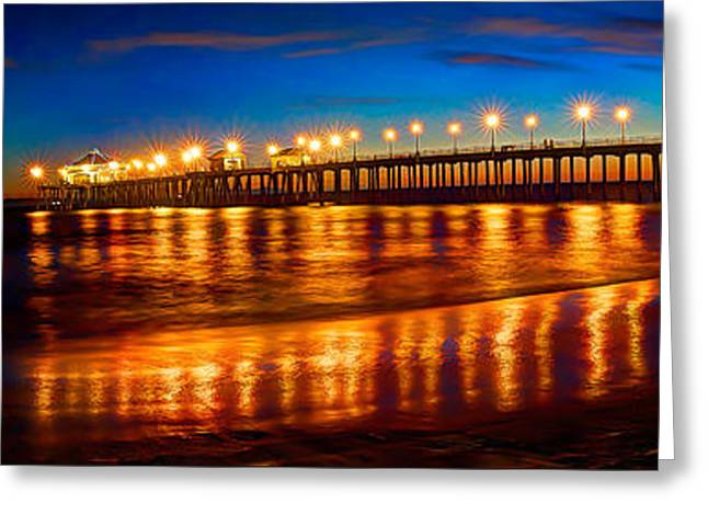 Huntington Beach Pier Twilight Panoramic Greeting Card