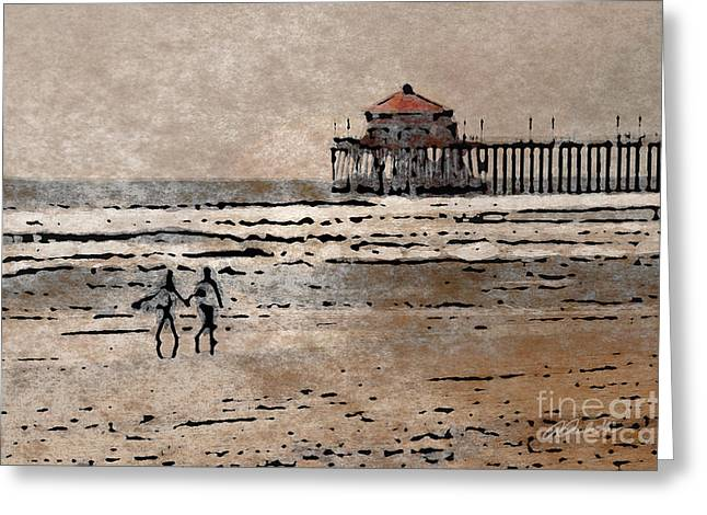 Huntington Beach Surfers Greeting Card
