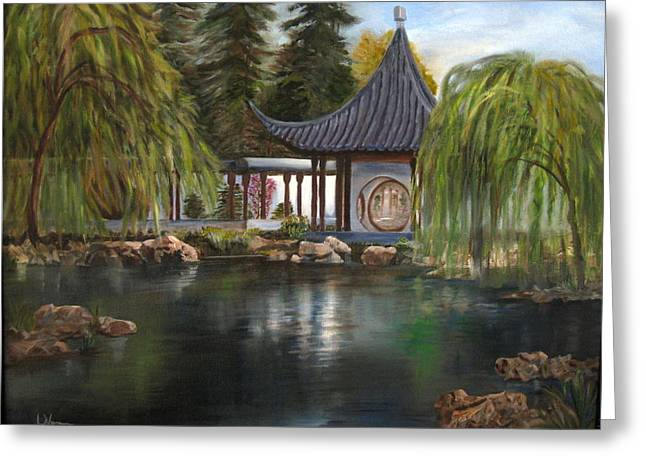 Greeting Card featuring the painting Huntington Chinese Gardens by LaVonne Hand