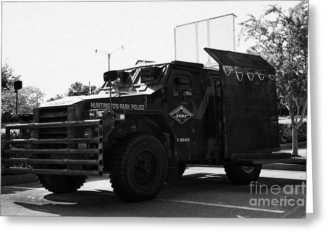 Huntington Park Police Special Emergency Response Vehicle Formerly A British Army Humber Pig Greeting Card by Joe Fox