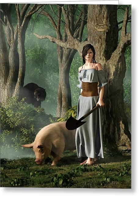 Huon The Truffle Hog Greeting Card by Daniel Eskridge