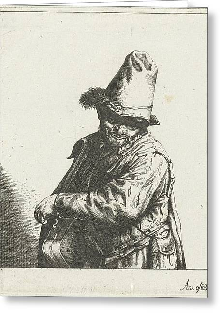 Hurdy-gurdy Player, Abraham Bloteling Greeting Card by Abraham Bloteling