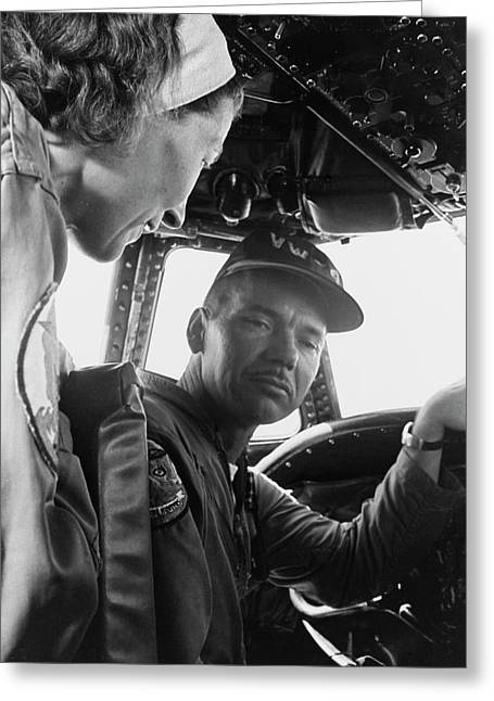 Hurricane Hunters In The Cockpit Greeting Card by Stocktrek Images