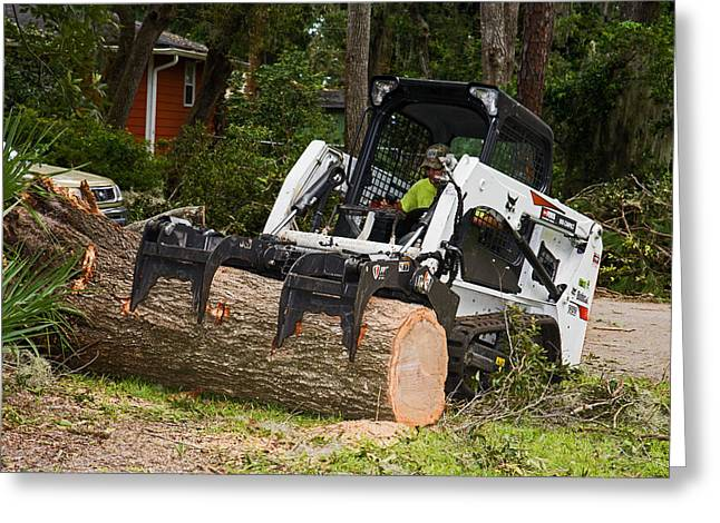 Hurricane Irma Damage, Bobcat Tractor Greeting Card by Millard H. Sharp