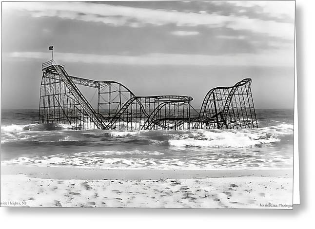 Hurricane Sandy Jetstar Roller Coaster Black And White Greeting Card by Jessica Cirz