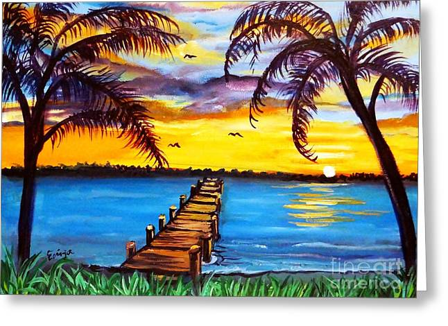 Greeting Card featuring the painting Hurry Sundown by Ecinja Art Works