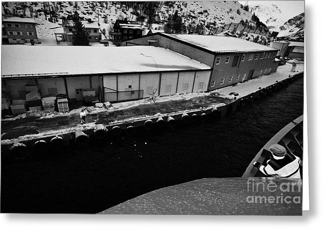 Hurtigruten Crew Member Throws Ships Rope Guide Line To Dock Worker Oksfjord During Winter Norway Eu Greeting Card