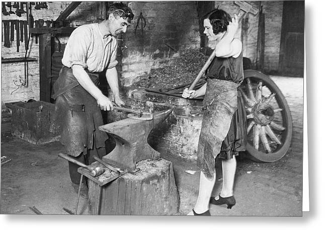Husband & Wife Blacksmiths Greeting Card by Underwood Archives