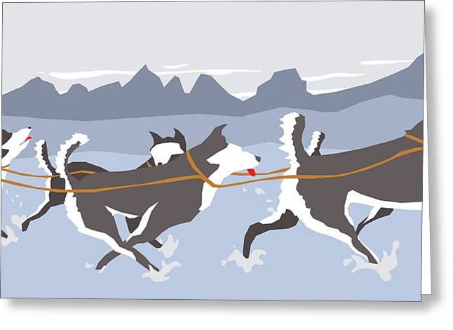Huskies Greeting Card by Dry Climate Studios