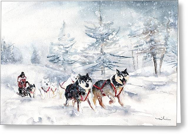 Huskies Sledge Greeting Card by Miki De Goodaboom