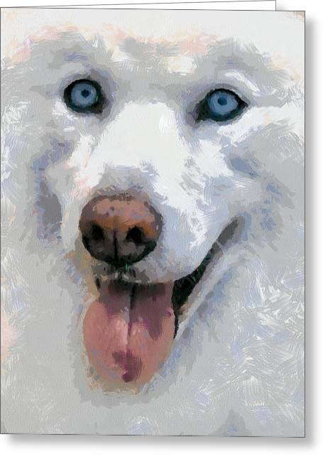 Greeting Card featuring the painting Husky by Georgi Dimitrov