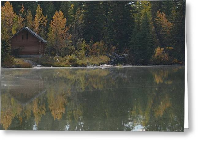 Hut By The Lake Greeting Card by Cheryl Miller