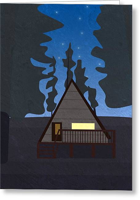 Hut In A Forest At Night Greeting Card by Pati Photography