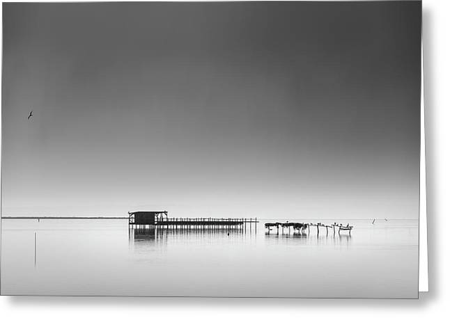 Hut In The Mist Greeting Card by George Digalakis