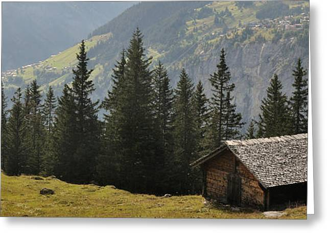 Hut With Mountain In The Background Greeting Card by Panoramic Images
