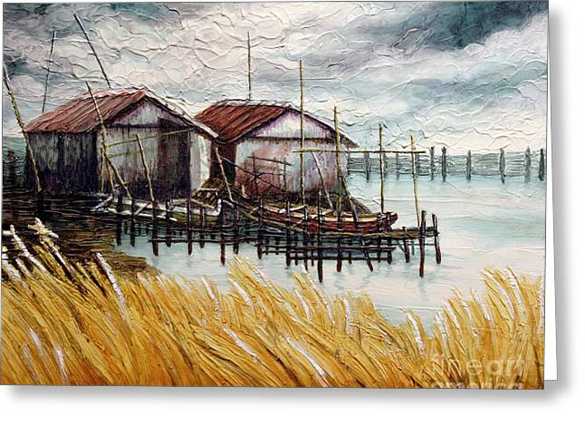 Greeting Card featuring the painting Huts By The Shore by Joey Agbayani