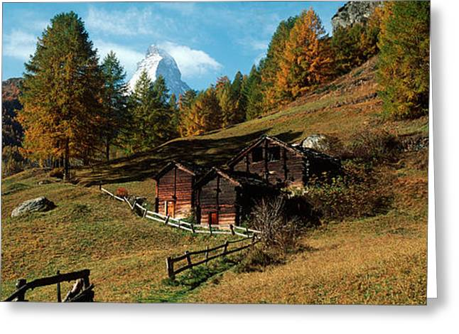 Huts With The Mt Matterhorn Greeting Card by Panoramic Images